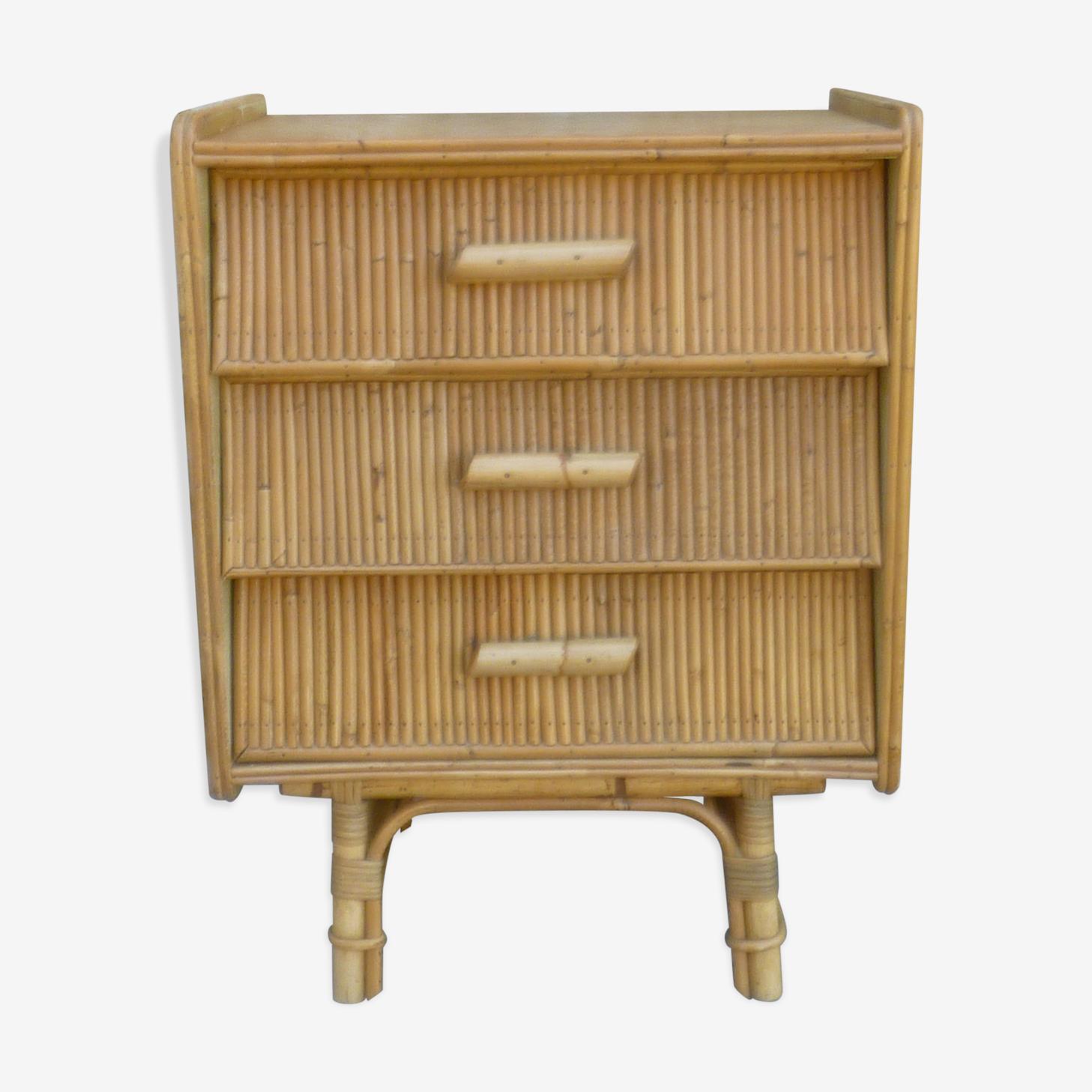 Commode en bois clair et rotin des années 60-70