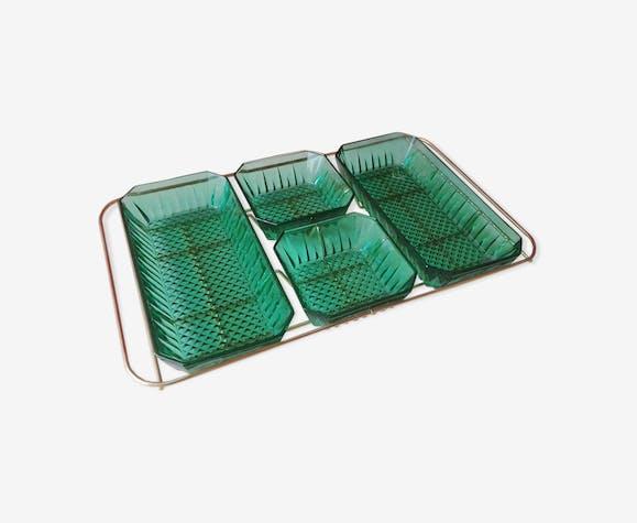 Plateau apéritif vintage en verre et laiton