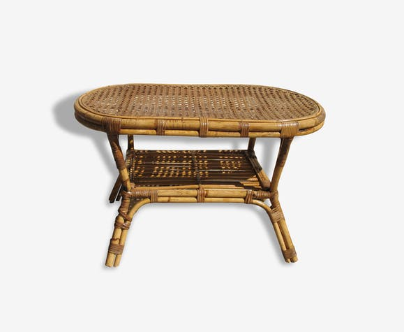 Table basse rotin années 1960