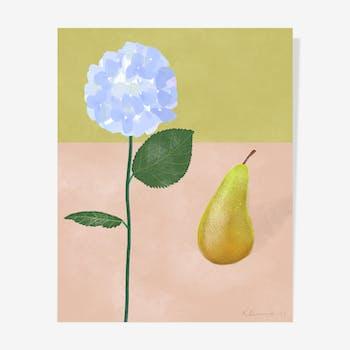 Hortensia & Pear Oil — 40 x 50 cm