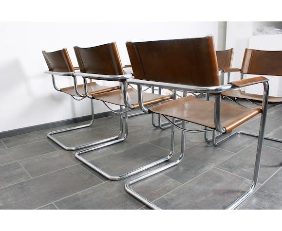 Lot de six chaises cantilever Mart Stam en cuir brun