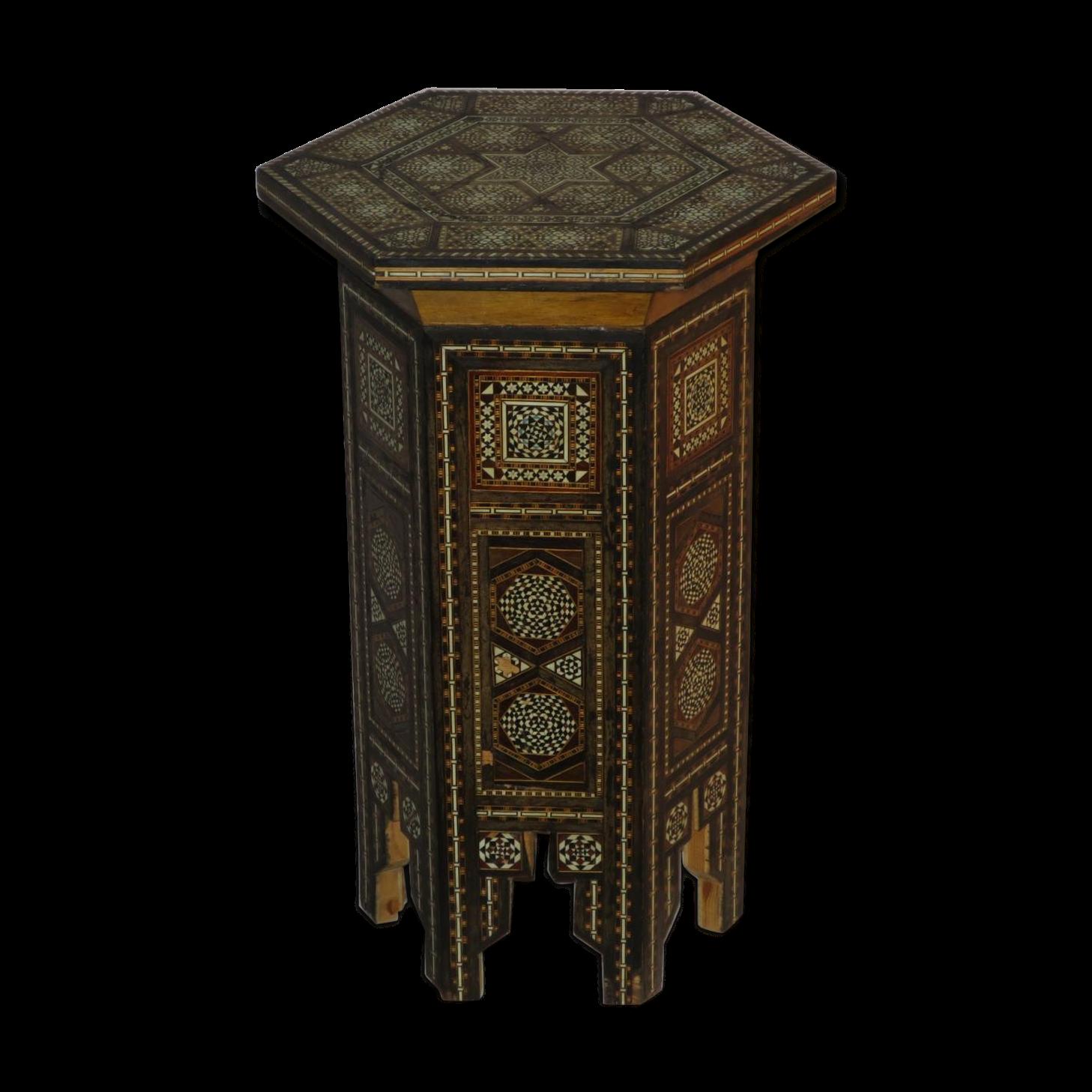 gueridon-syrien-oriental-table-a-the-en-micromosaique-os-nacre-et-bois_original Luxe De Table Basse Style Romantique Schème