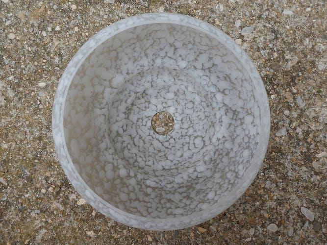 Lot de 5 abat jours art déco en verre de Clichy blanches