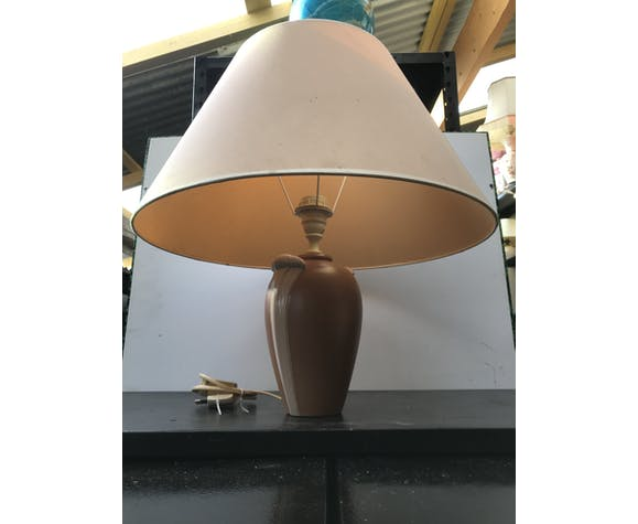 Lampe Robert de Schuytener céramique beige avec abat-jour crème vintage
