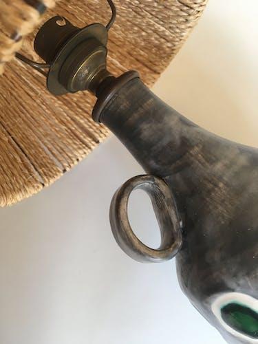 Lampe en céramique 1960 abat-jour en corde