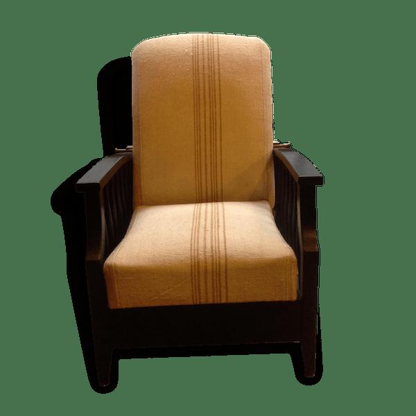 fauteuil morris annees 30 40 de style colonial bois mat riau vintage 52682. Black Bedroom Furniture Sets. Home Design Ideas