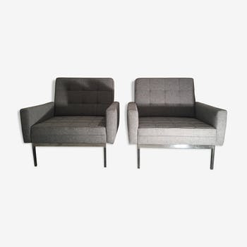 Pair of 2 Florence Knoll armchairs in grey fabrics