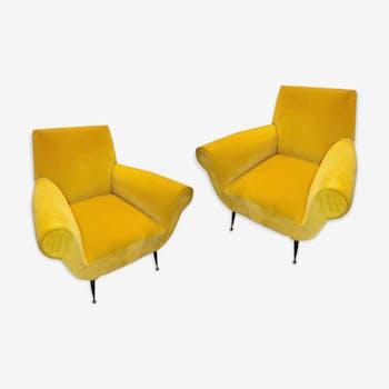 Pair of Italian Chairs Gigi Radice yellow Velvet