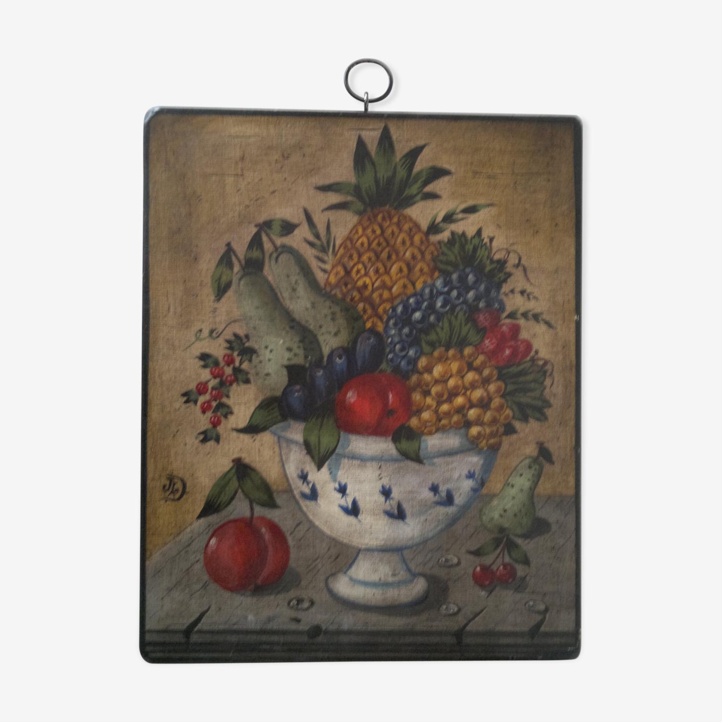 Peinture corbeille de fruits vers 1980