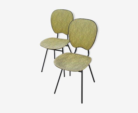 Paire de chaises en skaï années 50/60