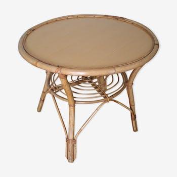 Table basse ronde en rotin années 70