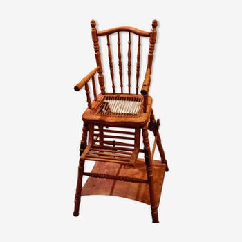old baby wooden high chair