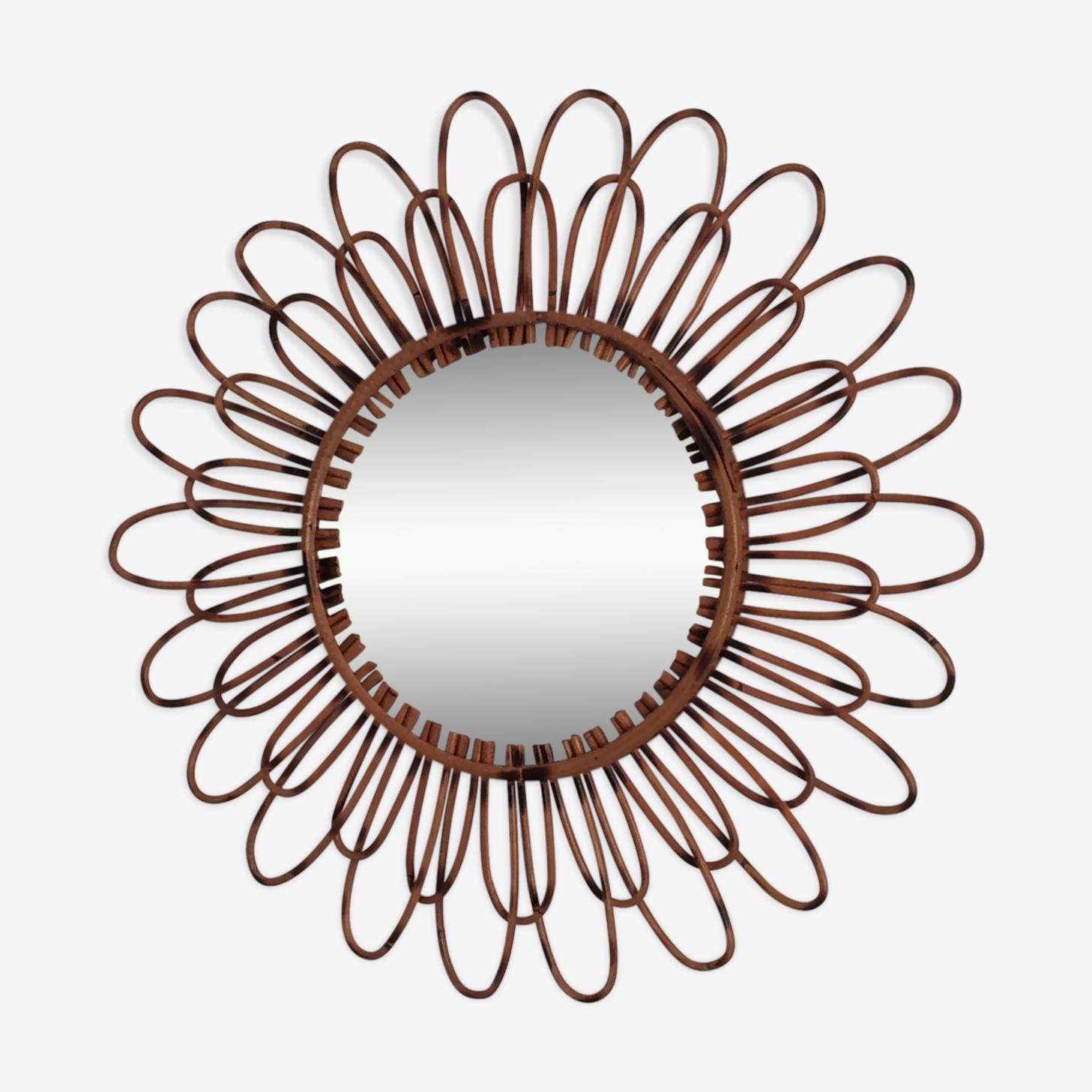 Miroir soleil vintage en rotin des années 60 - 56x56cm