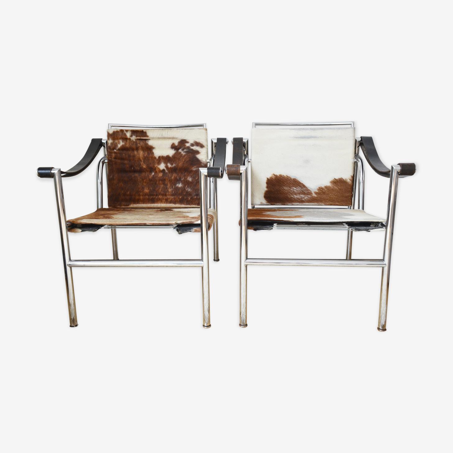 Paire de fauteuils LC1 Sling Chair Le Corbusier par Cassina de 1965