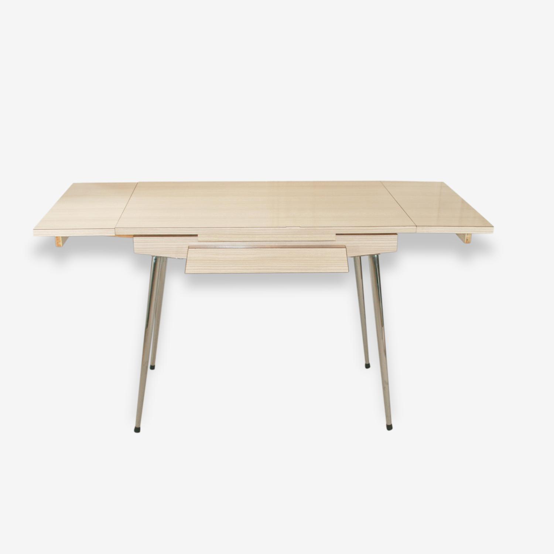 Table en formica beige et gris extensible