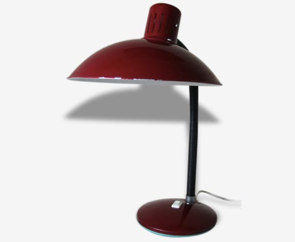 Grande Lampe Bureau A Poser Metal Vintage Rouge Fonce Bordeaux