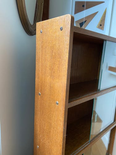 Bibliothèque en bois vitrée 4 étagères