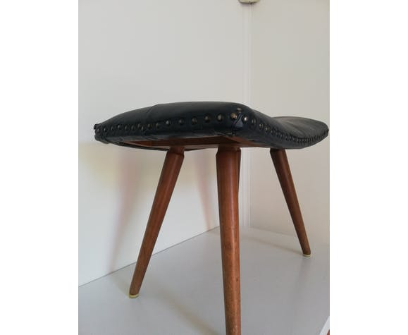 Dark blue leather stool with studs