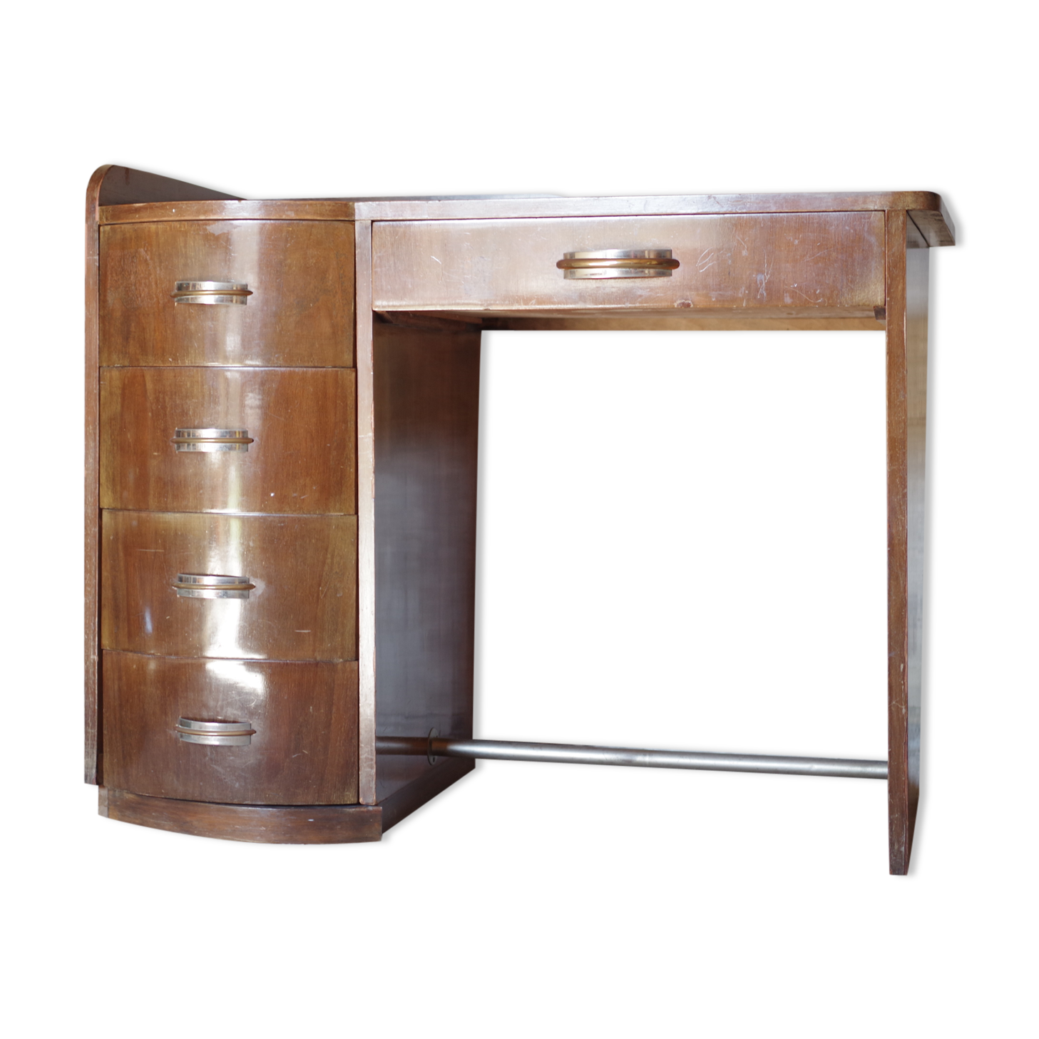 Bureau art déco vintage en noyer bois matériau bois couleur