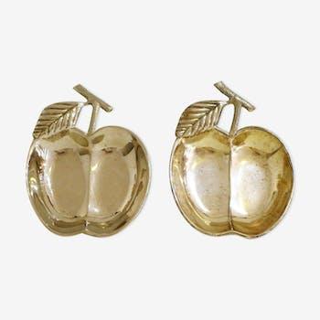 Paire de coupelles pomme en métal chromé