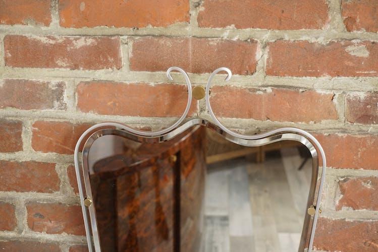 Miroir biseauté et suspendu années 50 - 71x42cm