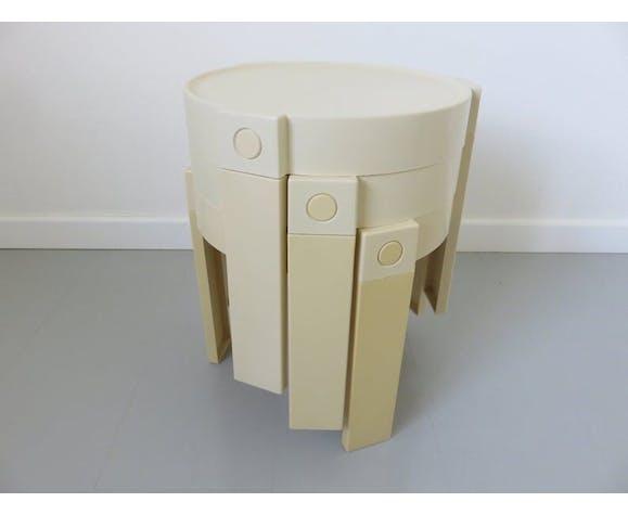 Série de 3 tables gigognes tripodes design Holland années 70