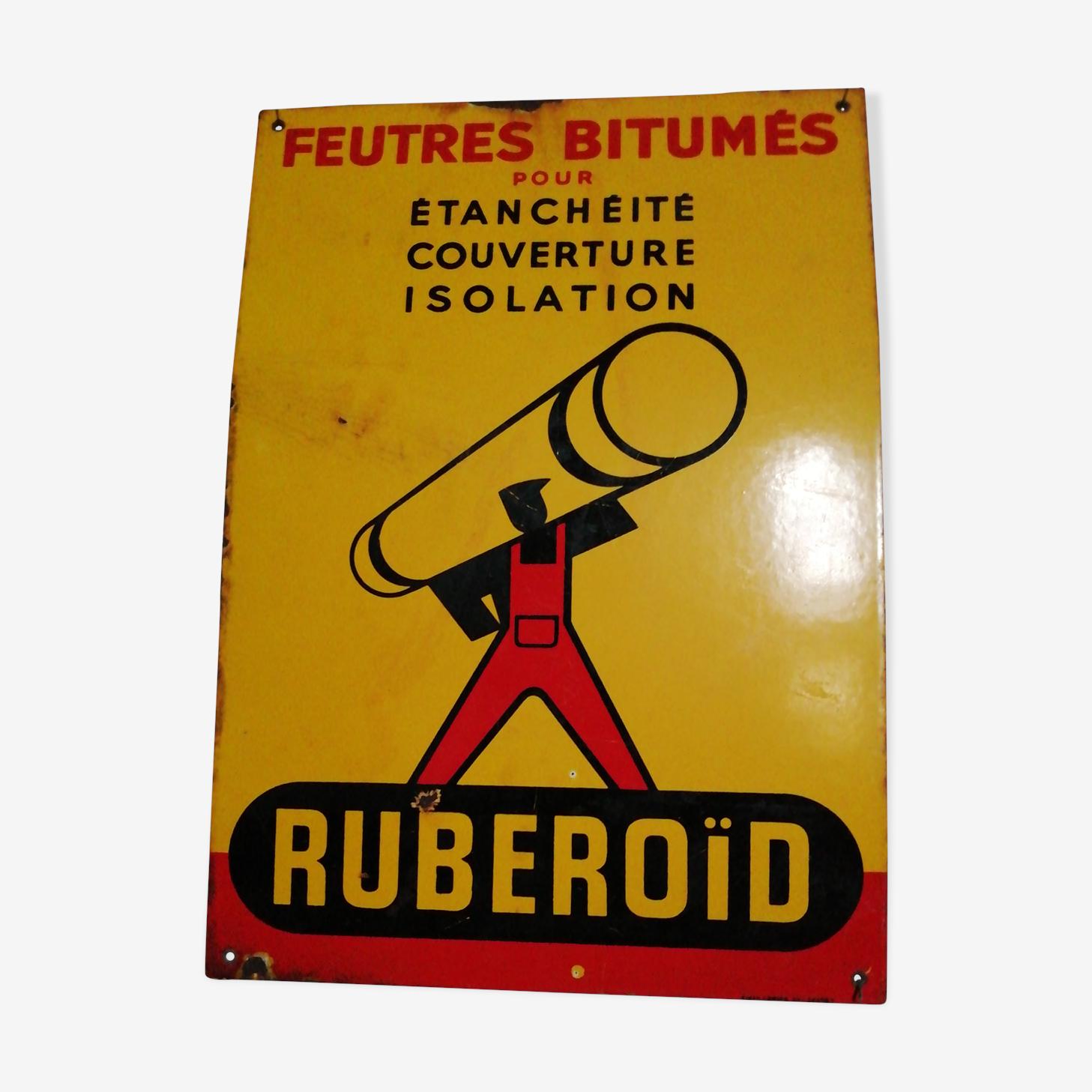 Plaque émaillée publicitaire Ruberoid