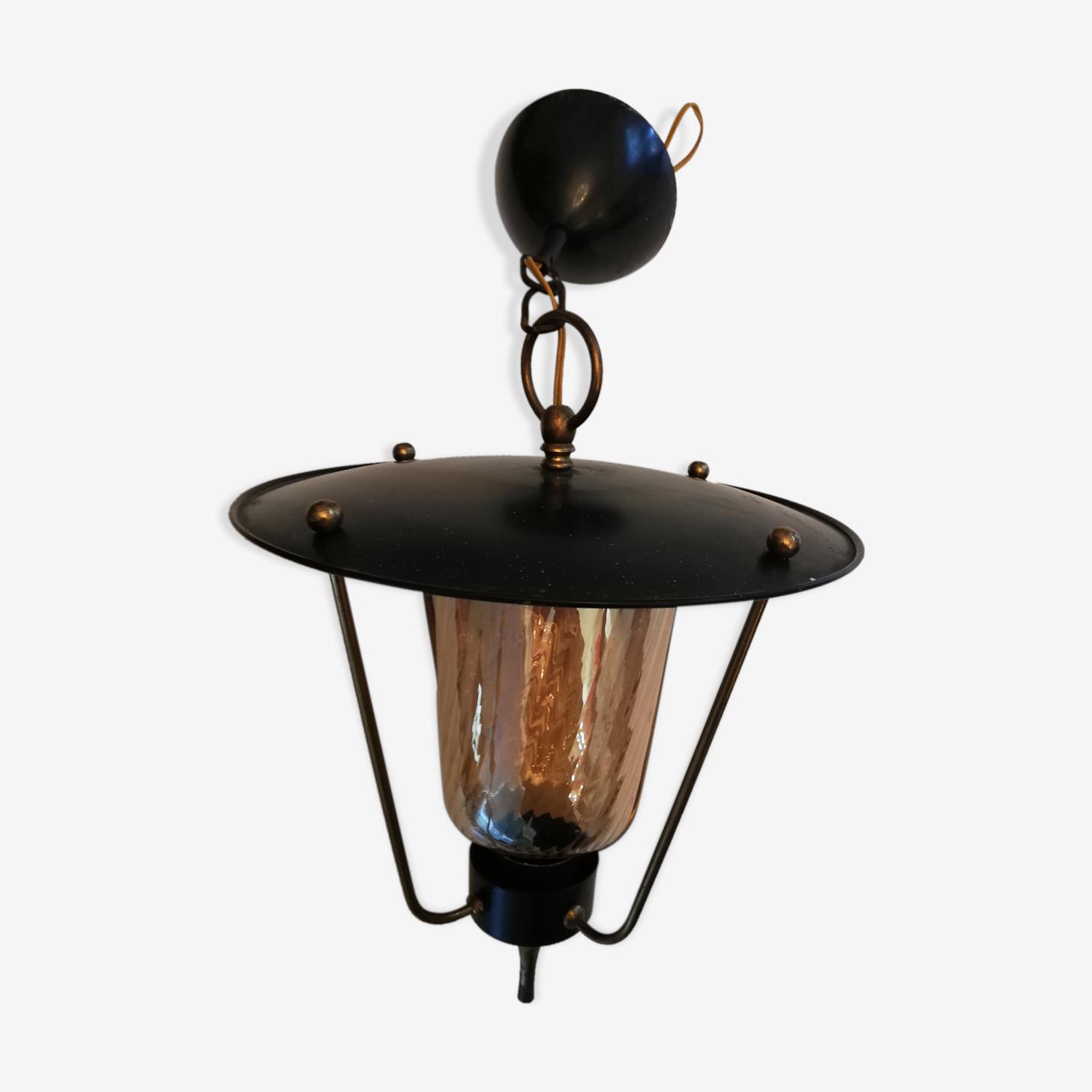 Lustre lanterne tôle et verre vintage 50/60