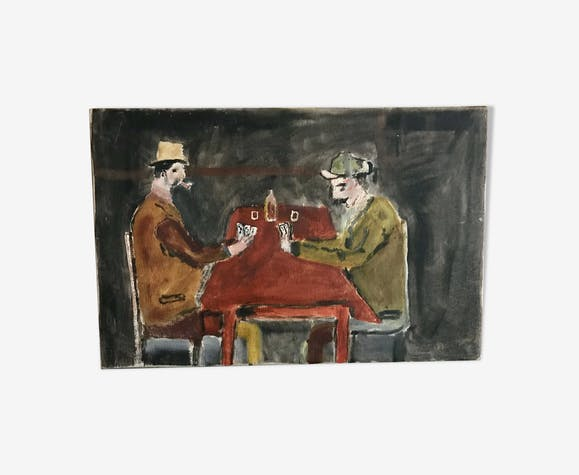 Small old table card players