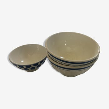 2 white bowls with blue pinstripes. The 1960s.