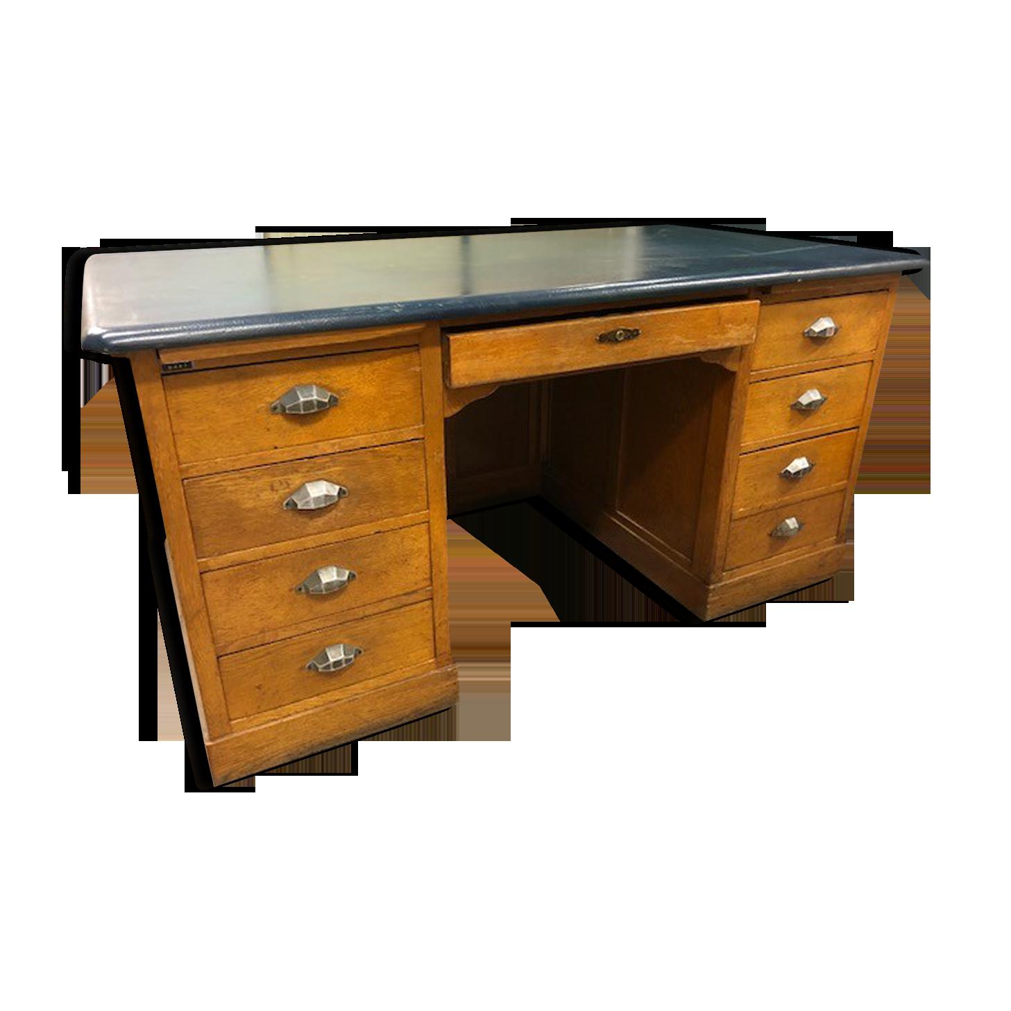 Bureau ancien en bois a double caisson bois matériau marron