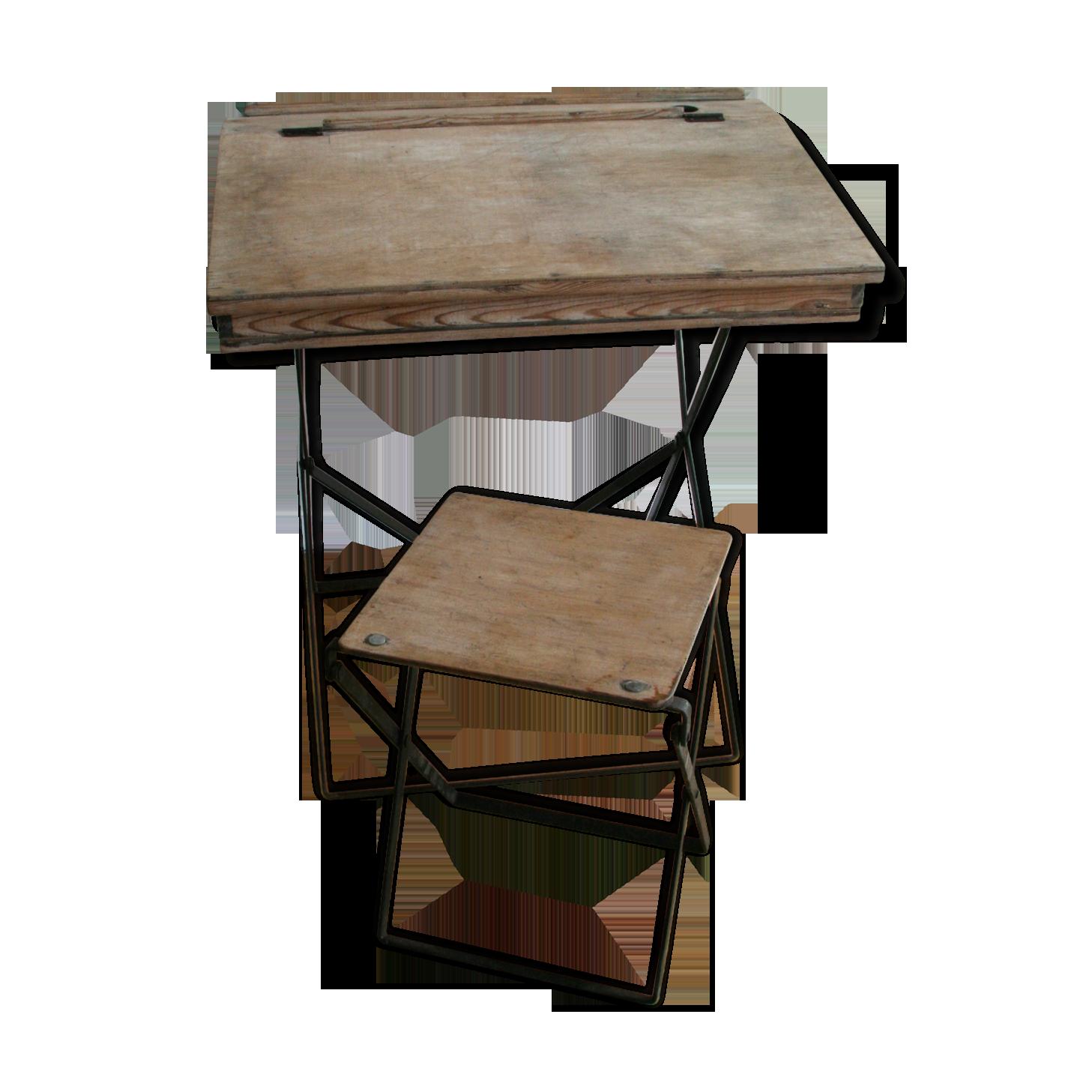 Bureau pupitre et son tabouret vers bois matériau