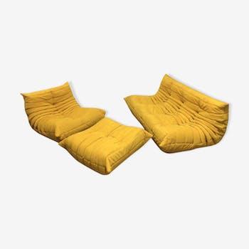 """Set de canapé """"Togo Alcantara"""" jaune par Michel Ducaroy pour Ligne Roset 1970"""