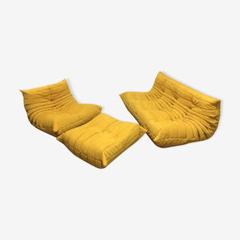 "Set of sofa ""Togo Alcantara"" yellow by Michel Ducaroy for line Roset 1970"