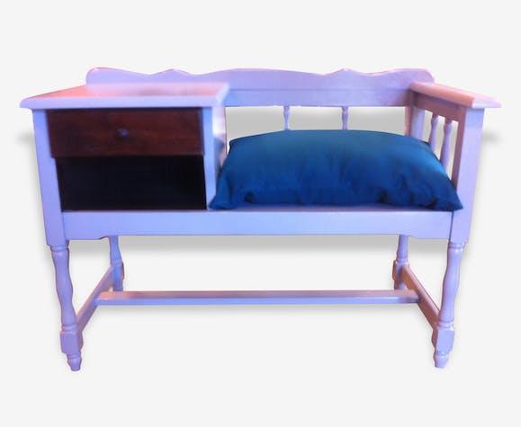 meuble banc t l phone bois mat riau gris vintage. Black Bedroom Furniture Sets. Home Design Ideas