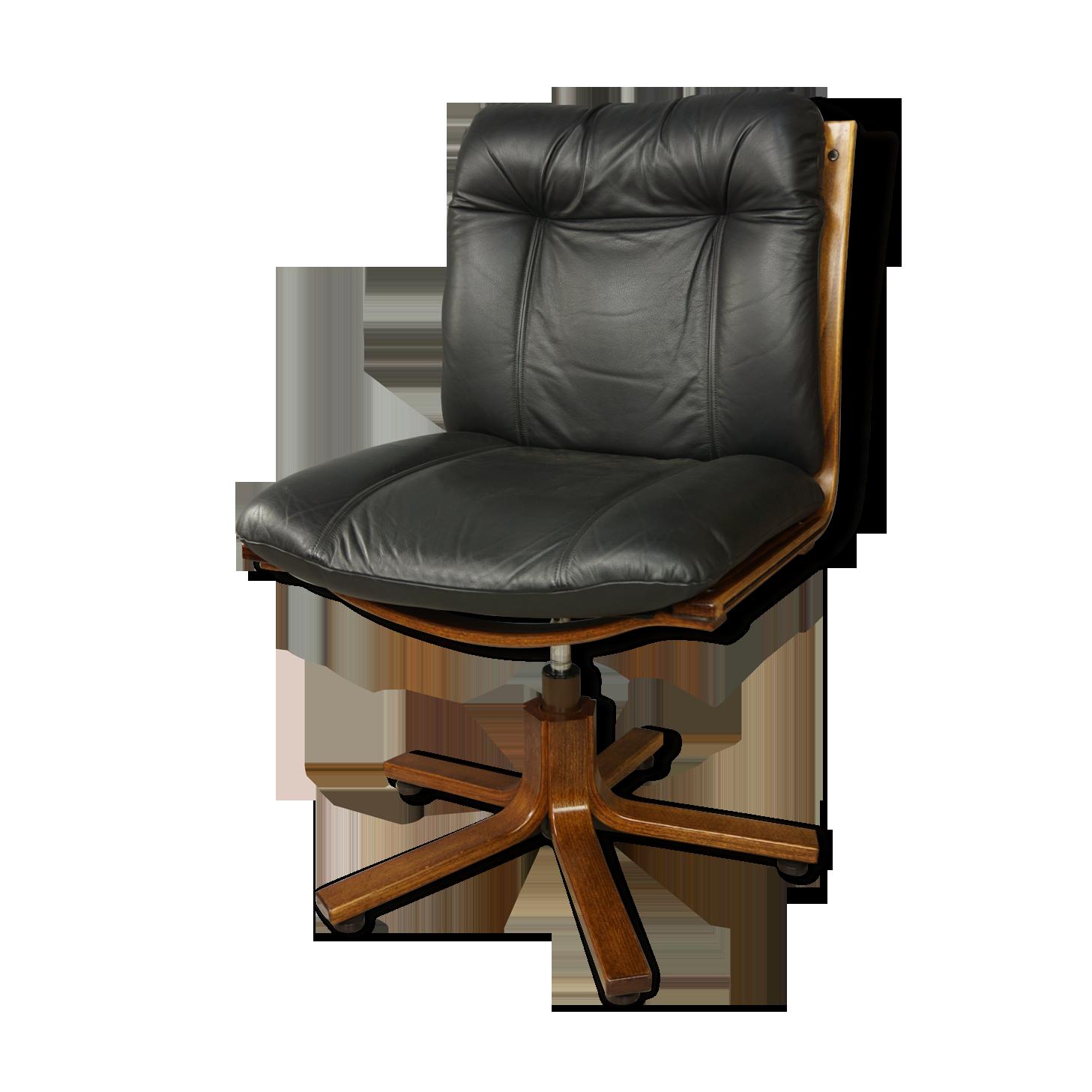 Fauteuil de bureau pivotant en cuir et bois cuir noir
