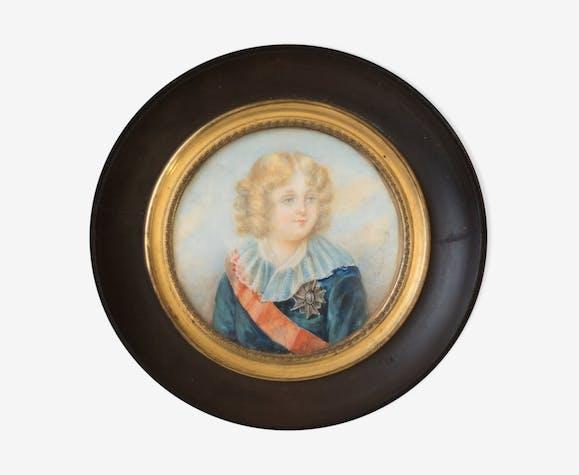 """Portrait miniature de Napoléon II dit """"l'aiglon"""" fin 19ème siècle"""