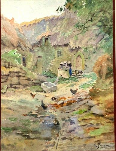 Chaumière, la cour et les poules, 1914 Albert Leopold Pierson XlX-XXe
