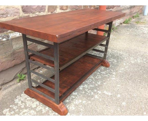 Console table industrielle atelier métal bois 1950