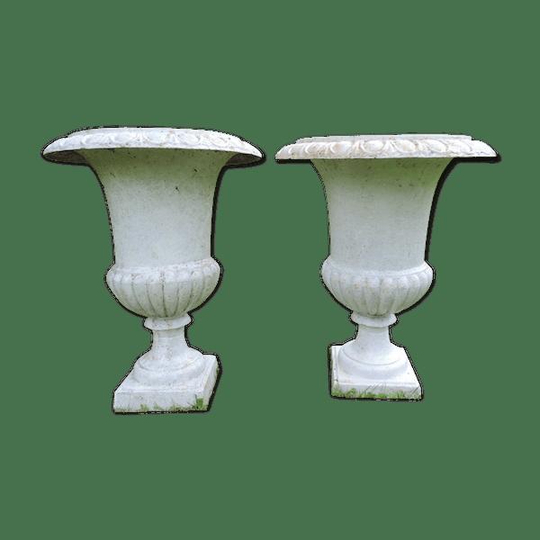 Paire de vasques anciennes de jardin en fonte - fonte - blanc ...