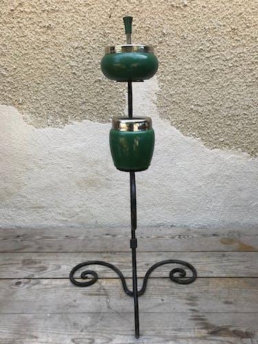 Cendrier ancien sur pied fer forgé