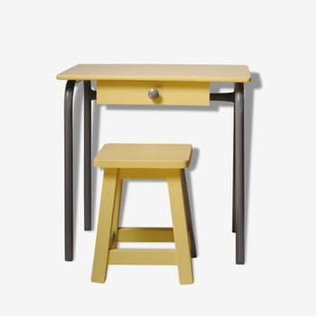 Yellow child office with his stool