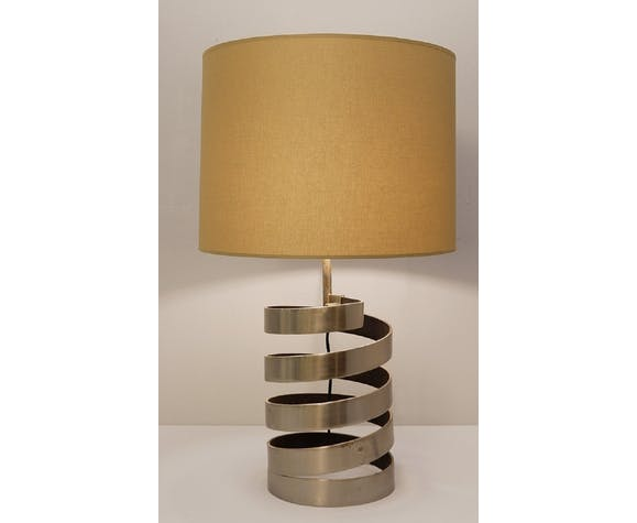 Pair of helical-based table lamps in brushed steel by Jacques Charpentier, France 1970
