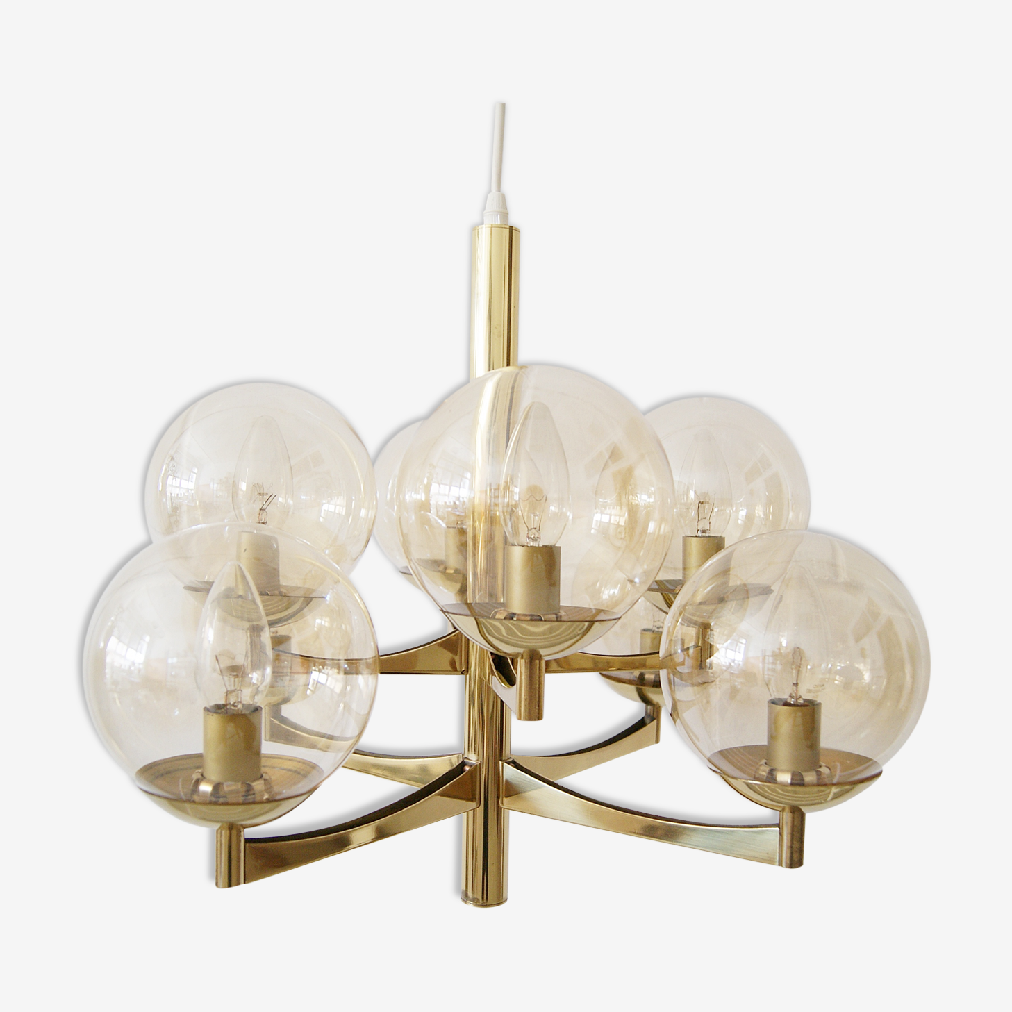 Brass chandeliers from Kaiser, Germany 1960