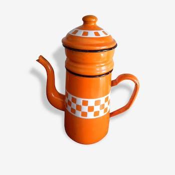 Cafetière émaillée, des années 60 orange et blanche