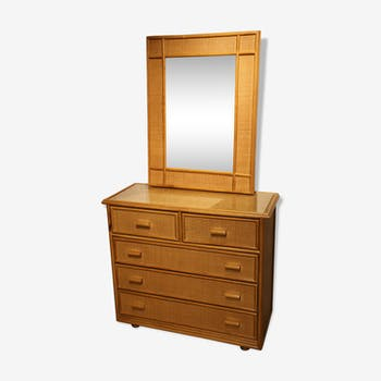 Chest of drawers and its matching mirror in rattan, 1960s