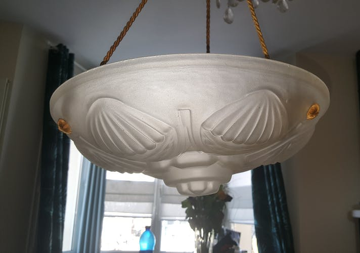 Ceiling lamp Art Deco white glass, years 1930