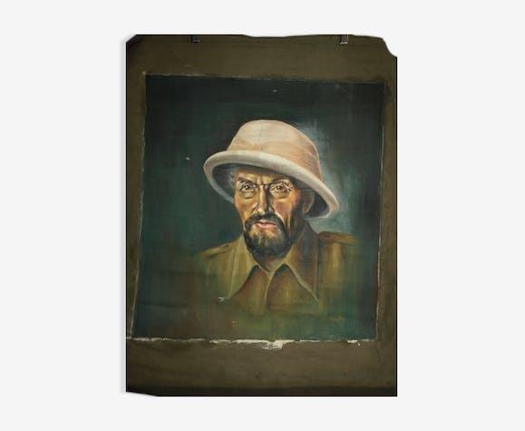 Portrait colonial huile sur bâche 1930