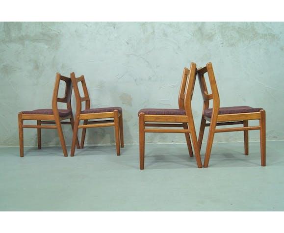 Lot de 4 chaises en teck danoises, années 1960