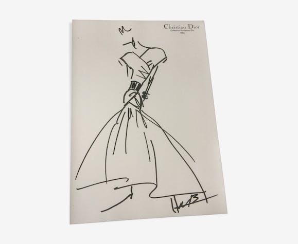 Illustration de mode de presse fin Christian Dior des années 80